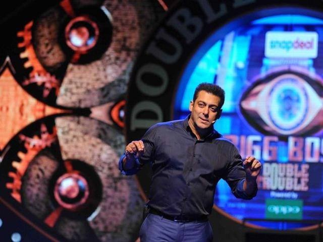 Salman Khan performs during the hosting and press conference with the launch of the Indian reality television show Bigg Boss 9  in Mumbai on September 28, 2015.
