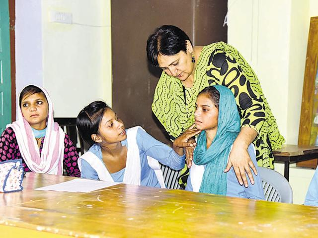 Injured school girls from Tonk hold a press meet in Jaipur on Wednesday.