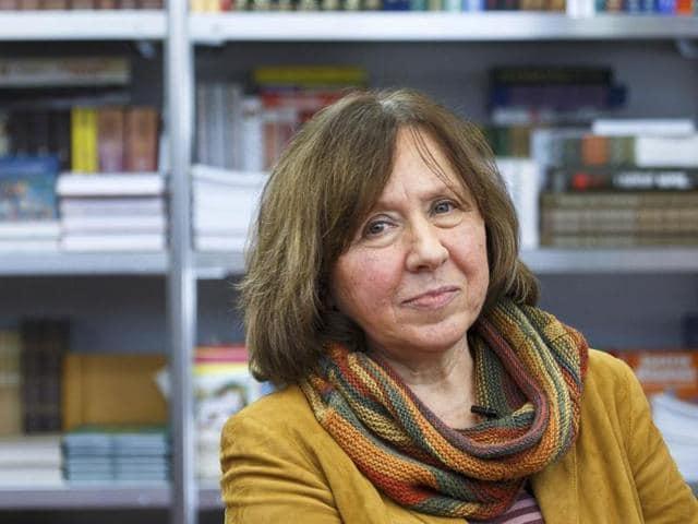 Belarussian writer Svetlana Alexievich is seen during a book fair in Minsk, Belarus.