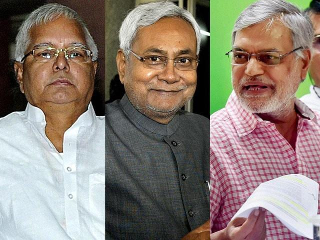 Combination photo of Lalu Prasad of RJD, Nitish Kumar of JD(U) and CP Joshi of Congress. RJD, JD(U) and Congress, who are part of a Grand Alliance for the Bihar polls. Two pre-poll surveys have given the Kumar-led alliance a comfortable lead in next week's elections.