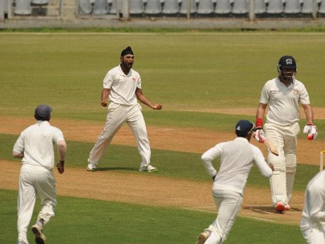 Balwinder Singh Sandhu of Mumbai celebrates after picking up a wicket against Punjab at Wankhede Stadium in Mumbai on Thursday.