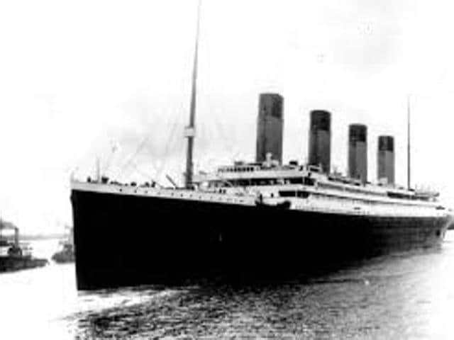 In this April 10, 1912, file photo, the liner Titanic leaves Southampton, England on her maiden voyage.