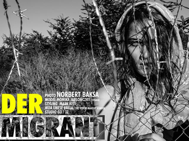 A screengrab of one of the images of Norbert Baksa's photoshoot, inspired by the European migrant crisis. The Hungarian photographer had to pull down the image from his website after widespread criticism on social media websites.