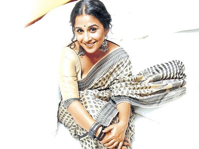 Vidya Balan in her trademark attire.