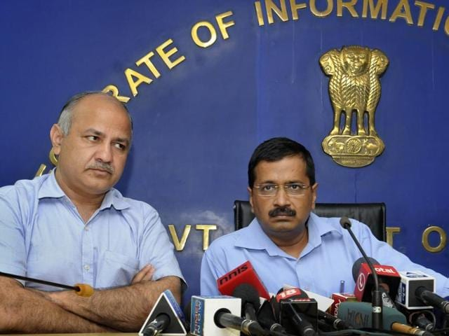 Delhi Chief Minister Arvind Kejriwal along with deputy CM Manish Sisodia announcing that he has sacked minister of food and civil supply, environment and forest, minority affairs and elections, Asim Ahmed Khan, on corruption charges, at Delhi Secretariat, in New Delhi, on Friday, October 9, 2015.