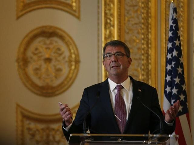 US secretary of defence Ashton Carter speaks during a press conference held with Britain's secretary of state for defence Michael Fallon, at Lancaster House in London, Friday, Oct. 9, 2015.