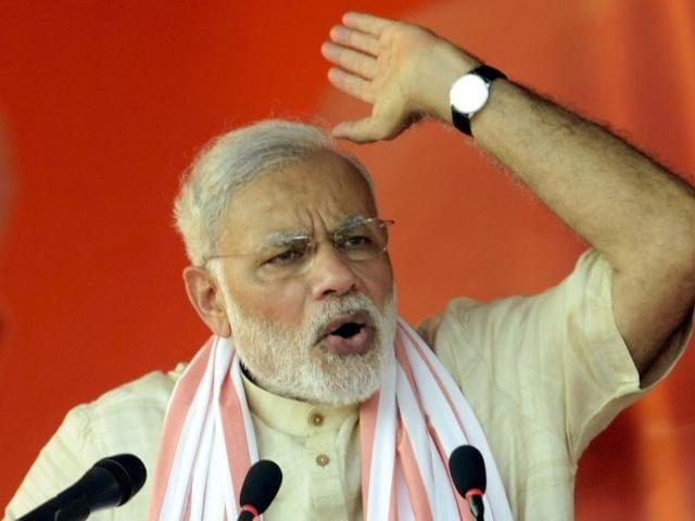 Prime Minister Narendra Modi addresses an election campaign rally in Banka, Bihar.