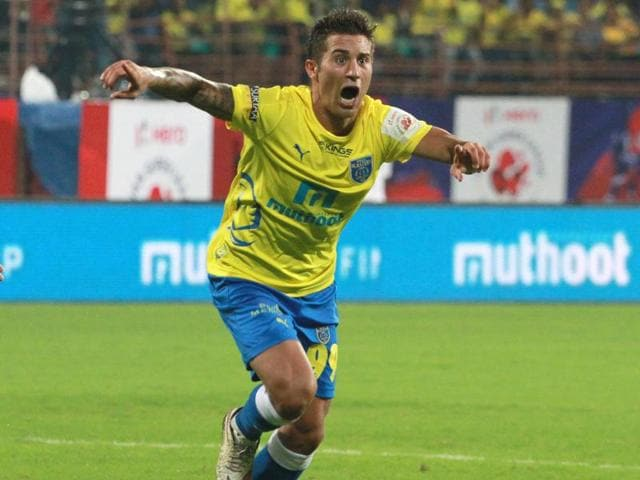 Josu Currias of Kerala Blasters FC, right, celebrates after scoring during the ISL match against NorthEast United FC at the Jawaharlal Nehru Stadium, Kochi, on October 6, 2015.
