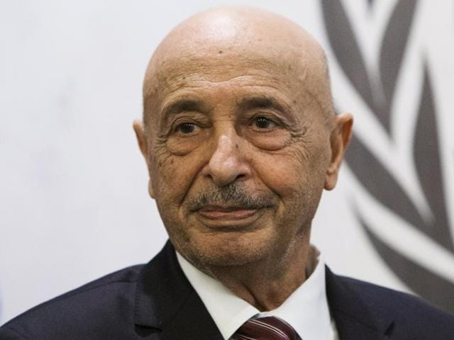 Libya's acting head of state Agila Saleh Essa Gwaider attends a meeting at the UN Headquarters in New York.