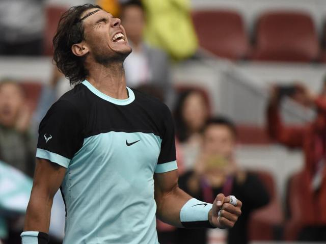 Rafael Nadal of Spain after his victory over Jack Sock of the US in their men's singles quarter-final at the China Open in Beijing, on October 9, 2015.