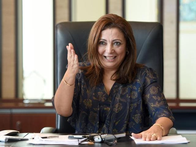 President of the Tunisian employers union (UTICA) Wided Bouchamaoui, gestures in her office in Tunis on October 9, 2015, after she was awarded the 2015 Nobel Peace Prize with other members of Tunisian National Dialogue Quartet.