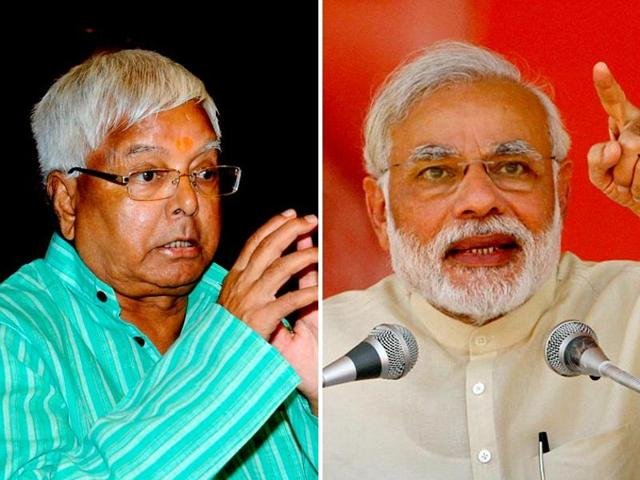 A combination picture of RJDchief Lalu Prasad and Prime Minister Narendra Modi.