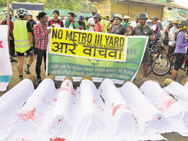 A file photo of a protest against the plan to build Metro-3 yard at Aarey