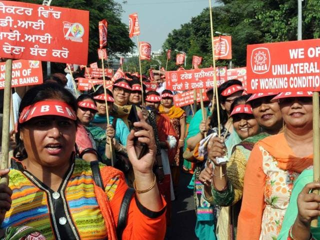 Members of the AIBEA holding a march in Patiala on Saturday.