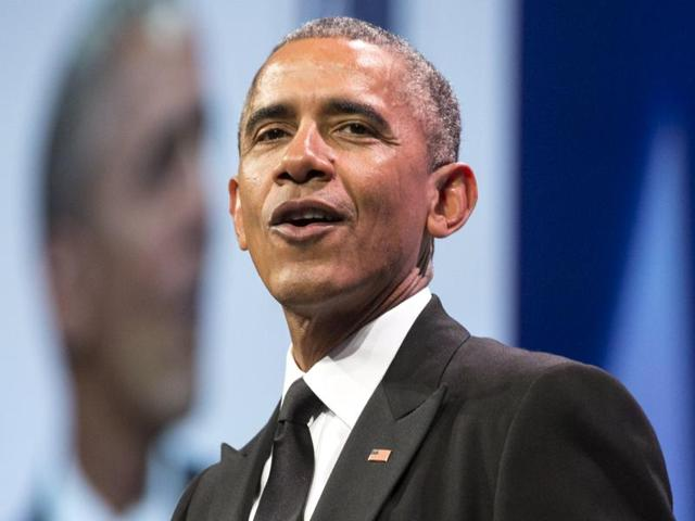 US President Barack Obama delivers remarks at the Congressional Hispanic Caucus Institute's (CHCI) 38th Annual Awards Gala in Washington.