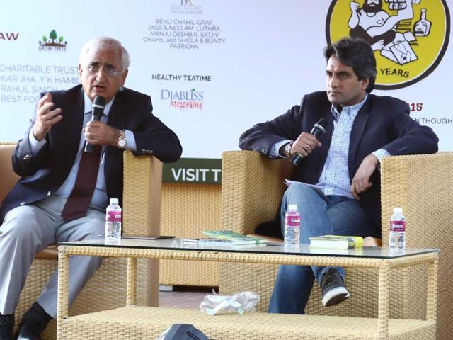 Salman Khurshid and Sudhir Chaudhry during the Khuswant Singh Lit Fest 2015 at Kasauli on Saturday.