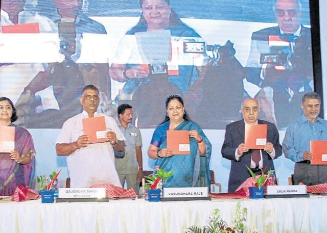 Chief minister Vasundhara Raje releases the 'Rajasthan Startup Policy-2015' in Jaipur on Friday.