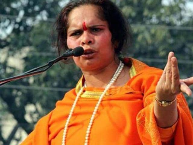 File photo of VHPleader Sadhvi Prachi . The Privileges Committee of Rajya Sabha has been asked to examine a complaint of opposition MPs  against her for her controversial 'terrorists in Parliament' remarks.