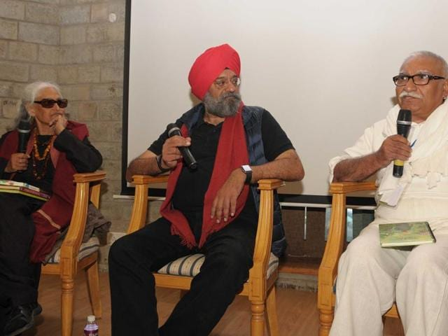 (From left) Kamla Kapur , Bobby Bedi and Sidharth at the Khuswant Singh Lit Fest in Kasauli.