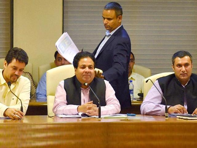 BCCI secretary Anurag Thakur (L) along with IPL governing council chairman Rajeev Shukla (C), BCCI treasurer Anirudh Chaudhary (R) at the IPL governing council meeting in Mumbai.