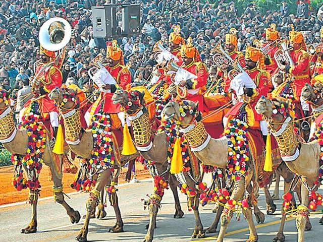 BSF's Camel-mounted band at Republic Day parade.
