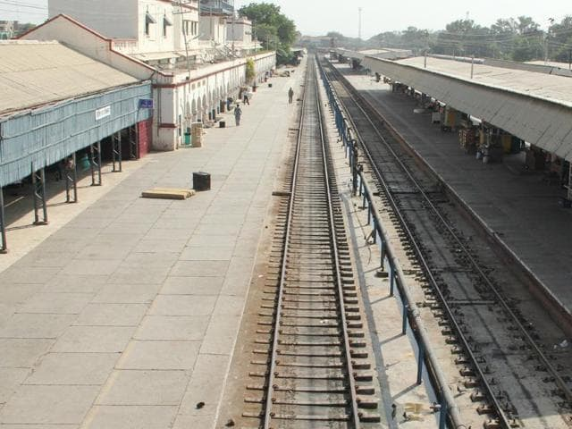 An empty railway station due to the ongoing farmers' protest in Bathinda on Sunday.