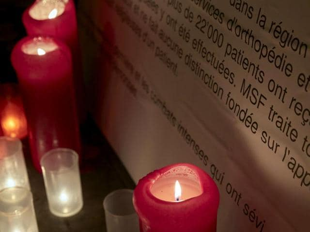 Candles are pictured outside the Medecins Sans Frontieres (MSF) headquarters in Geneva, Switzerland October 7, 2015. The US military took responsibility on Tuesday for a deadly air strike on a hospital in the Afghan city of Kunduz, calling it a mistake and vowing to hold people accountable.