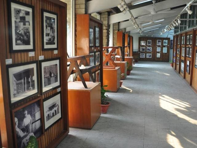 The corridor of the Le Corbusier Centre at Sector 19, Chandigarh