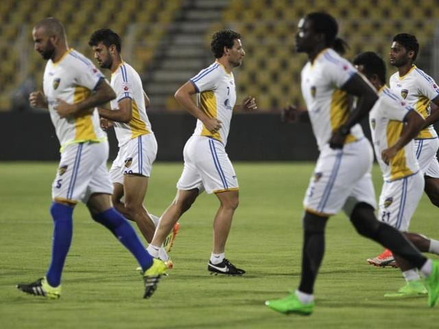Players of Chennaiyin FC practice for the upcoming match against FC Goa.