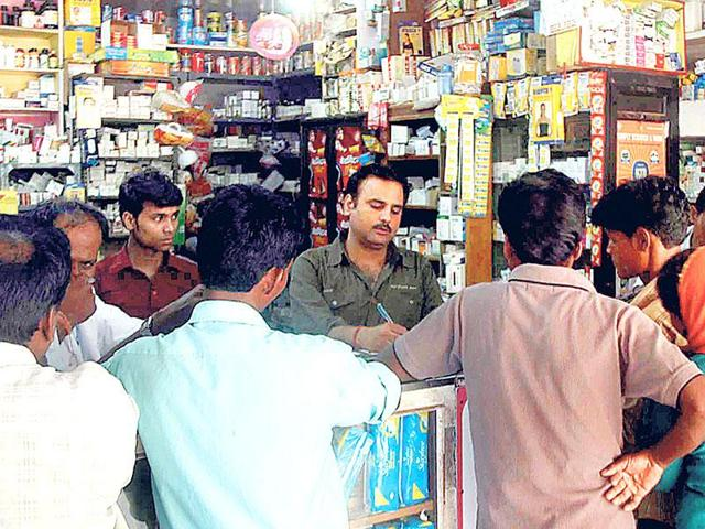 Medicine buyers at a chemist shop in Ranchi.
