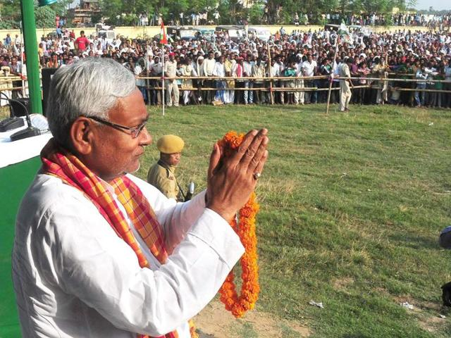 Bihar chief minister Nitish Kumar at an election rally in Gaya on Sunday.