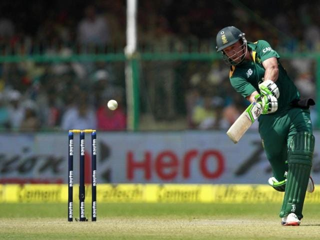 South Africa`s AB de Villiers plays a shot during the first ODI against India at Green Park Stadium, in Kanpur, on October 11, 2015.