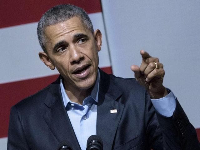US President Barack Obama speaks at a Democratic National Committee event at the Warfield theatre in San Francisco, California.
