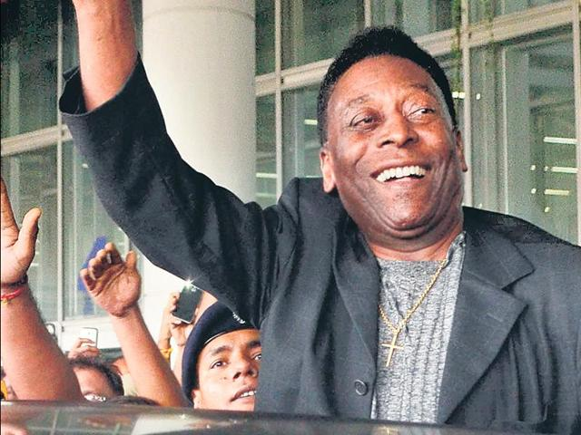 Football legend Pele arrives at the Netaji Subhas Chandra Bose International Airport for a three-day visit to Kolkata on Sunday.