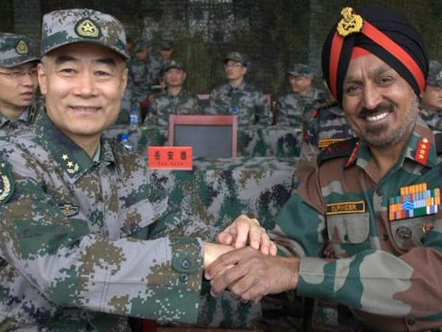 Heads of the observation groups during opening ceremony of Sino-Indian Military exercise.