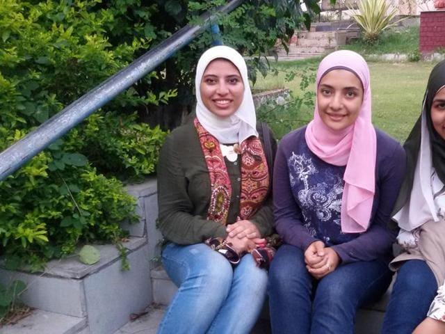 (From left) Nourhan Bakweer, Bassant El Gazzar and Tasneem Kholousy, the Egyptian students in Madhya Pradesh.