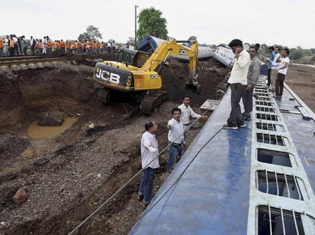 Rescue work in progress at Harda where twin train accidents took place in August, 2015.