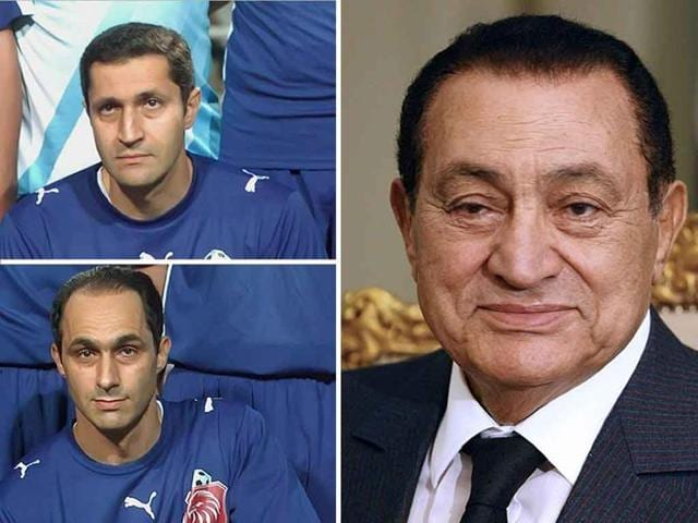 A combo of pictures shows on the left Alaa and Gamal Mubarak the sons of former Egyptian president Hosni Mubarak.