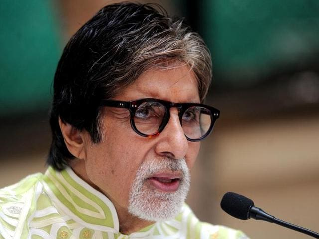 Amitabh Bachchan looks on during a press event to mark his 73rd birthday on October 11, 2015.