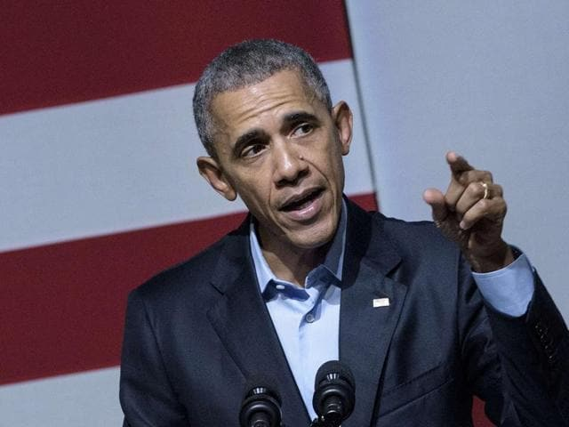 US President Barack Obama speaks at a Democratic National Committee event in San Francisco, California.