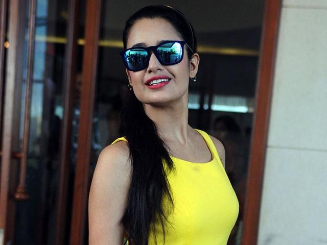 Bollywood actor Yuvika Chaudhary poses during a launch event in Mumbai.