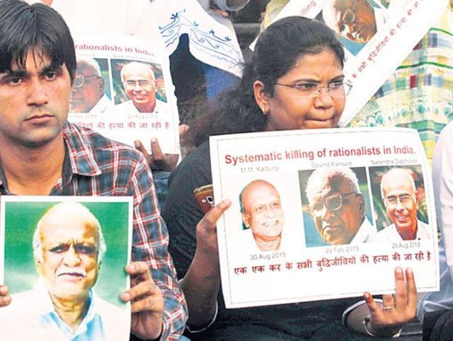 Activists protest against the killing of MM Kalburgi, Narendra Dabholkar and Govind Pansare.
