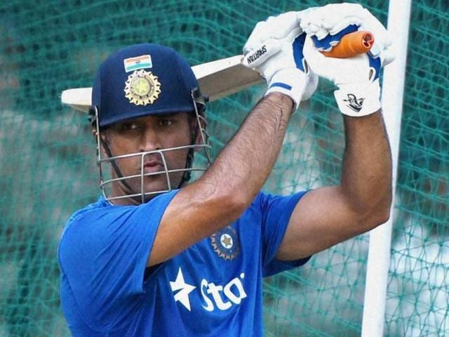 Kanpur : Indian cricket team captain M S Dhoni during a practice session in Kanpur a day before the first ODI against South Africa, on October 10, 2015.