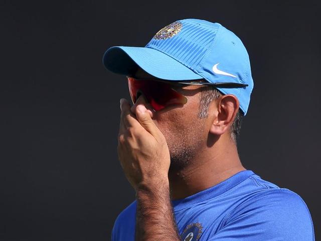 India's captain Mahendra Singh Dhoni during a practice session before the first ODI against South Africa on October 11, 2015.
