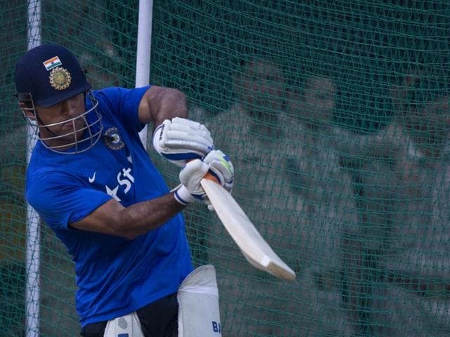 Indian cricket captain Mahendra Singh Dhoni during a practice session in Kanpur on October 10, 2015.