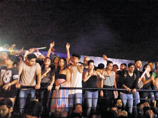 Youngsters at the Skrillex concert in Gurgaon on Sunday evening.