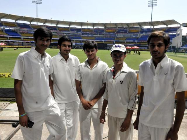 The U-19 players, who bowled to Team India players during the practice session, at Holkar Stadium on Tuesday.