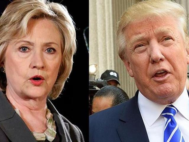 A combination photograph of US presidential election frontrunners Hilary Clinton and Donald Trump.