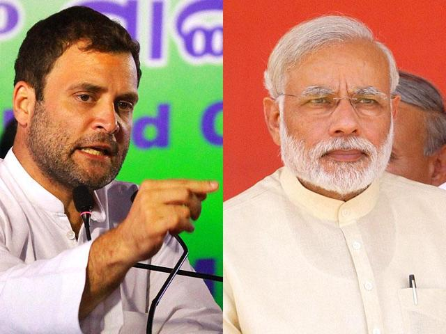 Combination picture of Congress vice-president Rahul Gandhi and Prime Minister Narendra Modi.