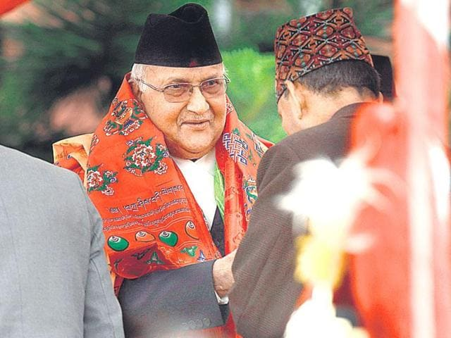 Newly-elected Nepalese Prime Minister KP Sharma Oli at his swearing-in ceremony in Kathmandu.
